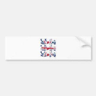 Union Jack Three Lions Bumper Sticker