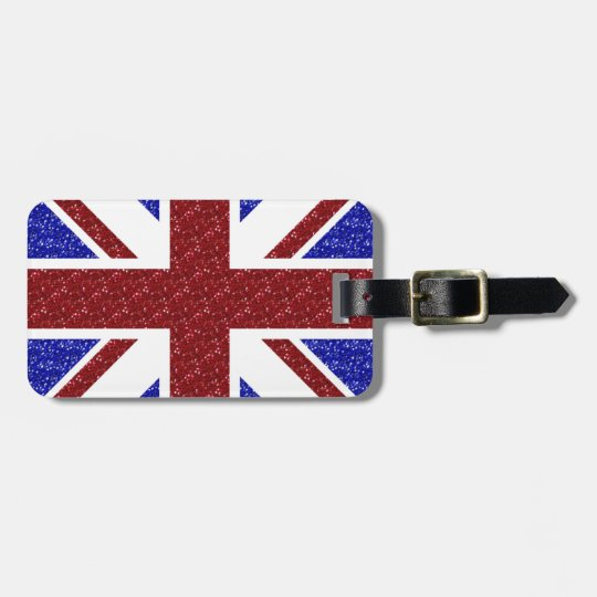 Union Jack Travel Luggage Tag Glam Glitter