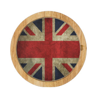 Union Jack UK British Flag of England Round Cheese Board
