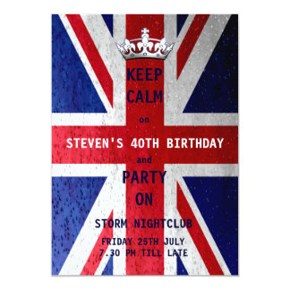 Union Jack UK Flag Birthday Party 5x7 Paper Invitation Card