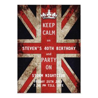 Union Jack UK Flag Birthday Party Card