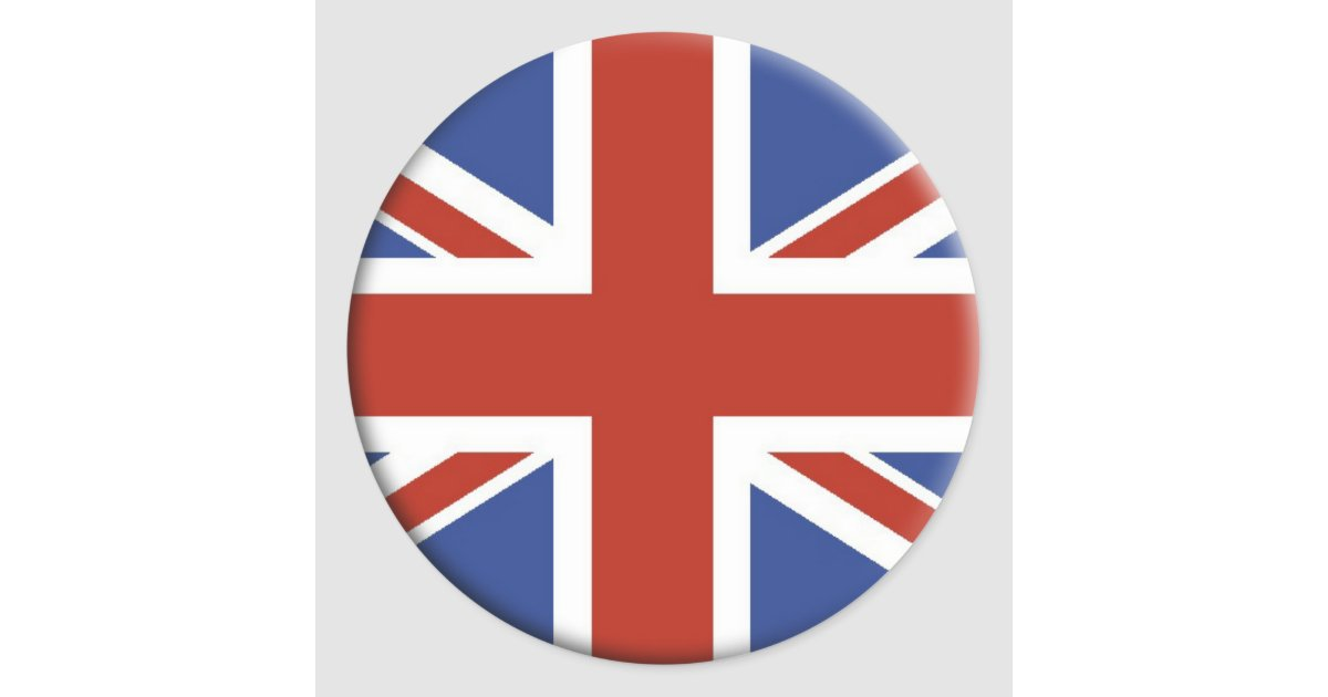 Union jack uk flag circle designs classic round sticker zazzle com