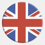 Union Jack UK Flag Circle Designs. Round Sticker