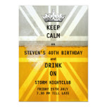 Union Jack UK Flag Cold Fresh Beer Birthday Party 5x7 Paper Invitation Card