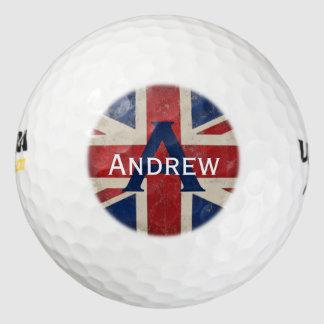 Union Jack UK Monogram Personalized Golf Ball