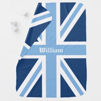 Union Jack UK Patriotic Flag in Blues Stroller Blanket