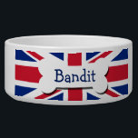 "Union Jack UK Personalized Bowl<br><div class=""desc"">British Union Jack UK  flag Personalized pet bowl .. dog bowls from Ricaso .. perfect pet products with customizable options .. give your fur friend that unique gift .. add your pets name to this union jack dish</div>"
