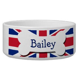 Union Jack UK Personalized Dog Food Bowl
