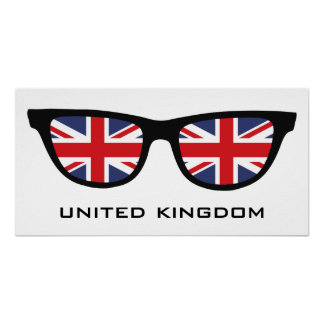 Union Jack UK Shades custom text & color poster