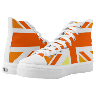 Union Jack UK United Kingdom In Orange High-Top Sneakers