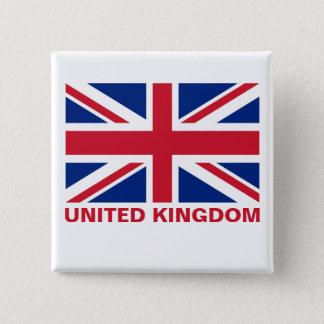 Union Jack United Kingdom Flag Red Text Pinback Button