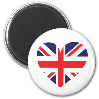 Union Jack United Kingdom Heart 2 Inch Round Magnet