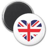 Union Jack United Kingdom Heart Fridge Magnets