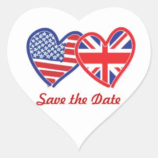 Unión Jack/USA Pegatina De Corazón