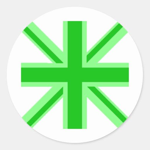 Union Jack verde Pegatina Redonda