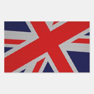 Union Jack vibrante en la impresión del estilo de Pegatina Rectangular