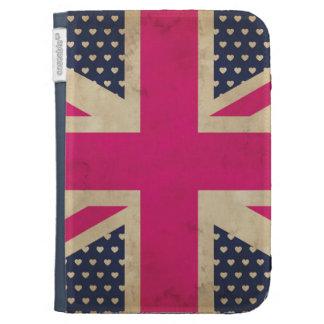 Union Jack viejo en bandera rosada enciende la caj