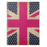 Union Jack viejo en cuaderno rosado de la bandera