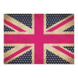 Union Jack viejo en la invitación rosada de la Invitación 12,7 X 17,8 Cm