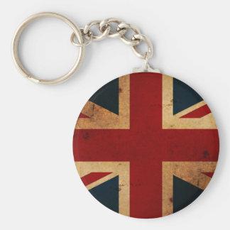 Union Jack (vintage distressed look) Basic Round Button Keychain