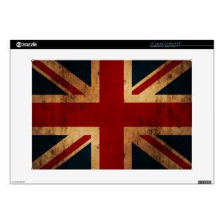 "Union Jack (vintage distressed look) Decals For 15"" Laptops"
