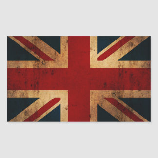 Union Jack (vintage distressed look) Rectangular Sticker