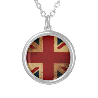 Union Jack (vintage distressed look) Silver Plated Necklace