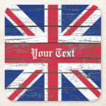 "Union Jack Weathered Wood Personalize Square Paper Coaster<br><div class=""desc"">Union Jack Weathered Wood Personalize</div>"