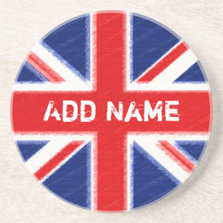 Union Jack with area for personalization Beverage Coaster