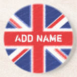 Union Jack with area for personalization Beverage Coasters
