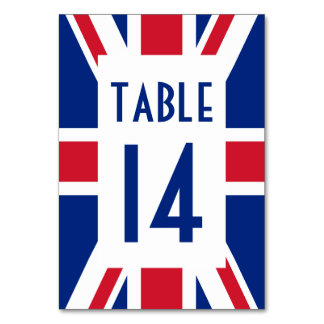 Union Jack with Blue Number Table Cards