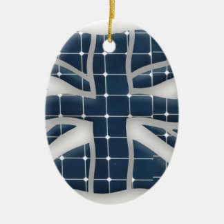 Union Jack with photovoltaic solar panels. Ceramic Ornament