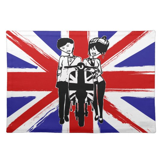 Union Jack with retro scooter boy and girl Cloth Placemat
