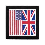 Union Jack y banderas de los Estados Unidos de Amé Joyero Cuadrado Pequeño