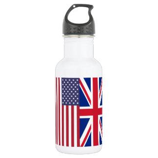 Union Jack y banderas de los Estados Unidos de Botella De Agua De Acero Inoxidable