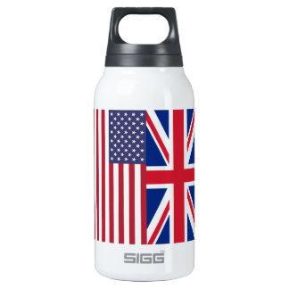 Union Jack y banderas de los Estados Unidos de Botella Isotérmica De Agua