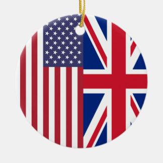 Union Jack y banderas de los Estados Unidos de Adorno Redondo De Cerámica