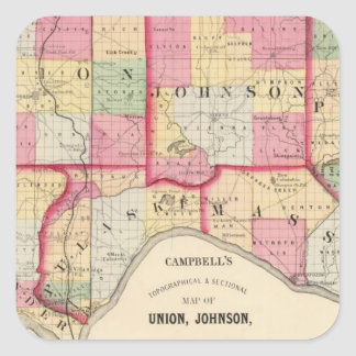 Unión, Johnson, Alexander, Pulaski Pegatina Cuadrada