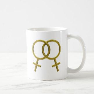 Unión lesbiana, símbolos de Venus, mujeres Taza De Café