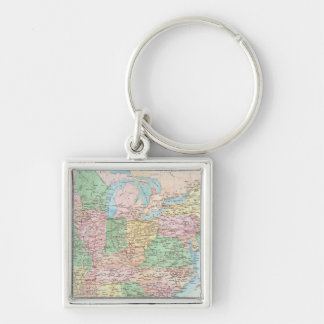 Union Military Chart Silver-Colored Square Keychain