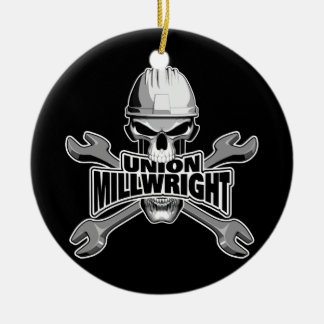 Union Millwright: Skull and Wrenches Ceramic Ornament