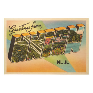 Union New Jersey NJ Old Vintage Travel Postcard- Wood Print