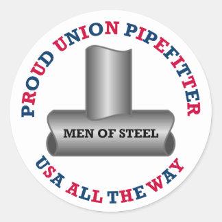 Unión orgullosa Pipefitter los E.E.U.U. Pegatina Redonda