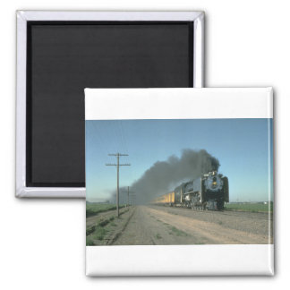 Union Pacific No. 8444 powers a train from Denver 2 Inch Square Magnet
