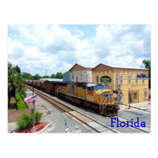 Union Pacific Train Engine in North Florida Town Post Card