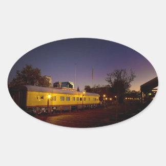 Union Pacific Train in Old Sacramento Oval Sticker