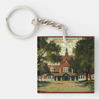 Union Passenger Depot, Cedar Rapids IA Vintage Single-Sided Square Acrylic Keychain