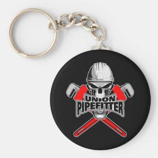 Unión Pipefitter: Cráneo y llaves Llavero Redondo Tipo Pin