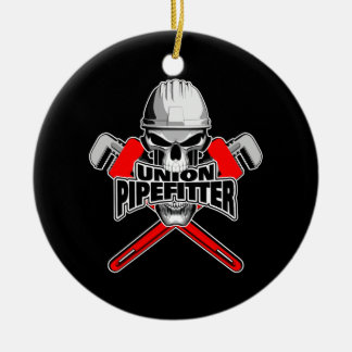 Union Pipefitter: Skull and Wrenches Ceramic Ornament