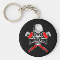 Union Pipefitter: Skull and Wrenches Keychain